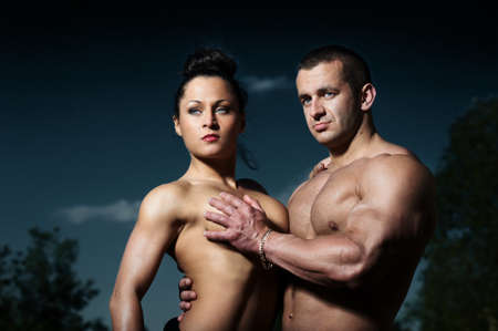 Portrait of a young fitness couple photo