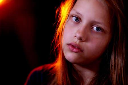 落ち込んで十代の少女の肖像画 写真素材
