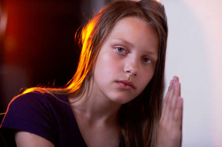depressed woman: Portrait of a depressed teen girl Stock Photo