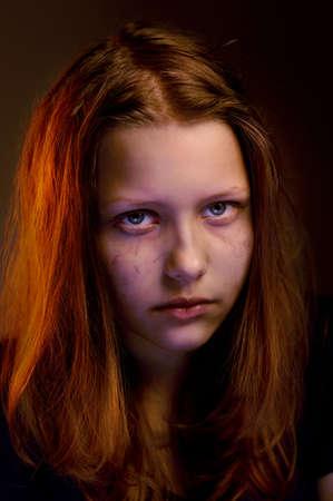 Depressed upset sad teen girl Standard-Bild