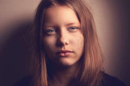 sad teen: Depressed upset sad teen girl Stock Photo