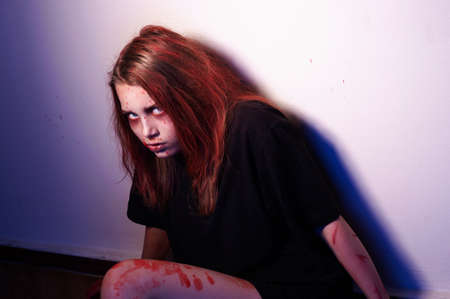 necromancy: Girl patient psychological hospital. Possessed by a satan Stock Photo
