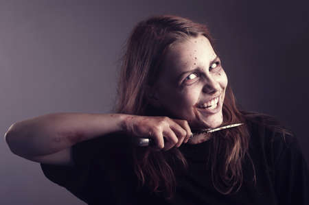 Psycho girl commits suicide with sinister smile