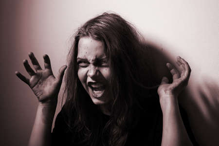 possessed: Girl possessed by a demon. In Conspiracy With Satan Stock Photo