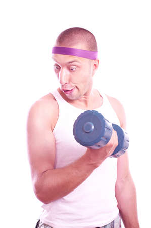 stupid body: Portrait of a nerd guy trains with dumbbells