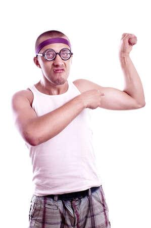 Portrait of a sporty nerd in glasses posing photo