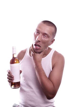 habbit: Portrait of a depressed weird drunk guy with bottle