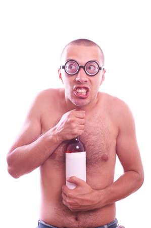 habbit: Portrait of a drunk nerd guy in eyeglasses with bottle