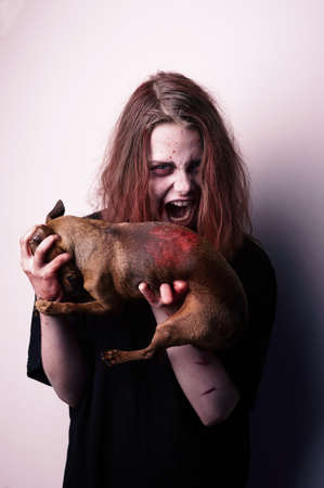 sacrificed: Girl possessed by a demon sacrificed dog. Bloody sabbath