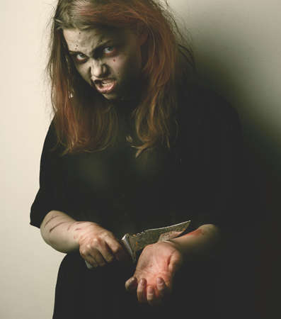 blasphemy: Psycho girl possessed by a demon with knife