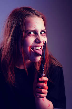 Girl possessed by a devil cuts tongue