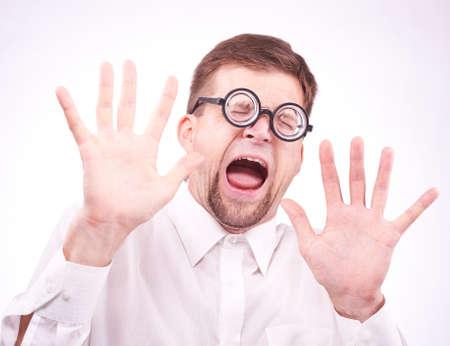 Portrait of an afraid man in glasses Standard-Bild