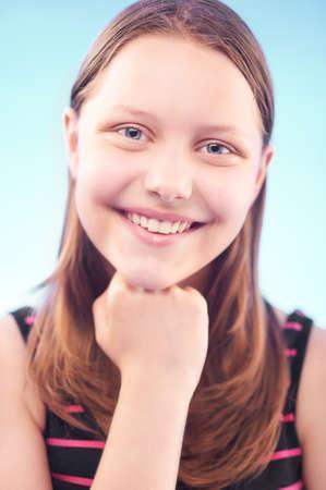 cute teen girl: Nice cute teen girl smiling Stock Photo