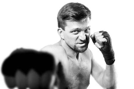agressive: Portrait of a strong agressive boxer