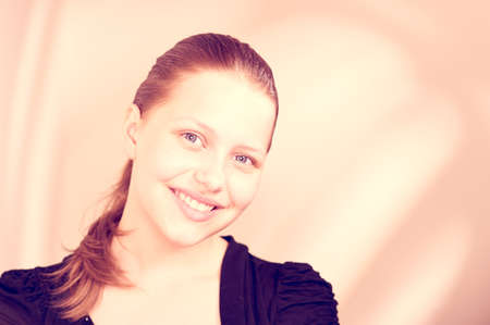 Beautiful happy lovely teen girl smiling photo