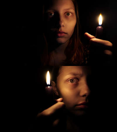 black shadow: Teen girl with a candle, fear on her face