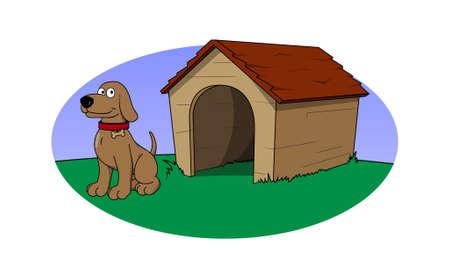 cartoon dog: Vector cartoon - Dog and house