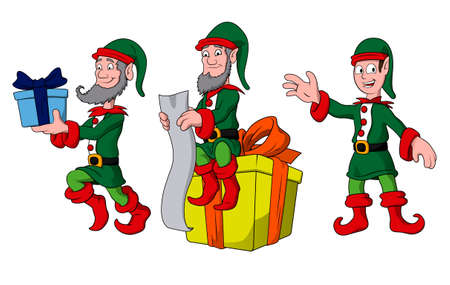 Christmas characters - three elves Illustration