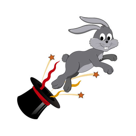 Rabbit jumping out of top hat Illustration