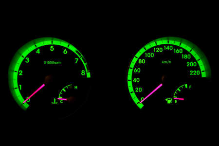 car speedometer. Shows vehicle speed and engine revolutions photo