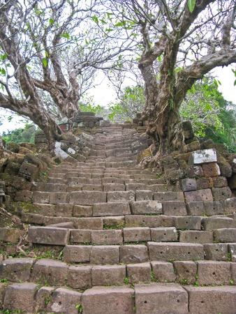 Vat Phou stone stairs Stock Photo