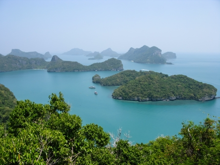 Viewpoint from 350 meters high of Ko Wua Talab in Mu Ko Ang Thong Marine National Park, Samui Island,Surathani, Thailand photo
