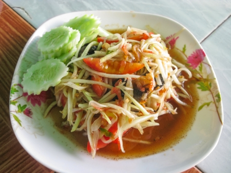 tam: Thai spicy papaya salad with crab called Som Tam Poo