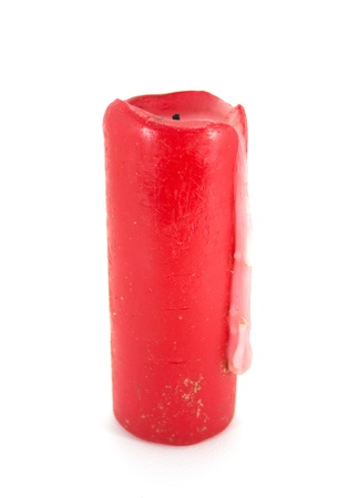 Red wax candle isolated