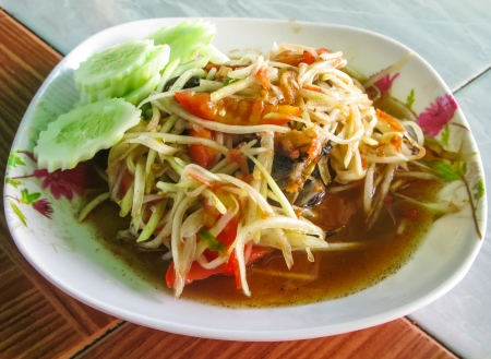 Thai spicy papaya salad with crab called Som Tam Poo