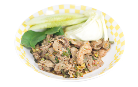 namtok: Traditional thai food grilled pork spicy salad called Moo Yang Nam Tok