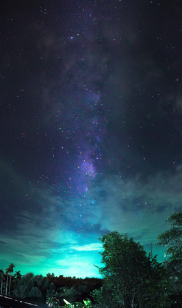 Milky way galaxy over the rural park