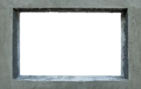 Grey cement picture frame on white background Stock Photo