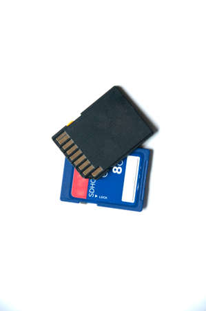 SD card isolated on white background,Secure Digital Memory Cards (SD 8 GB)