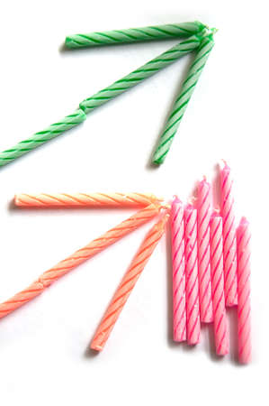 arrow birthday green ,pink and orange candles Stock Photo - 9606687