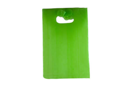 green empty plastic bag isolated over white background photo