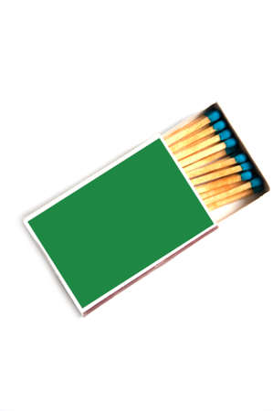 Close up of a match box on white background photo