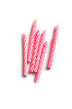 six pink Birthday candles