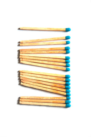 Group of Match on white background Stock Photo