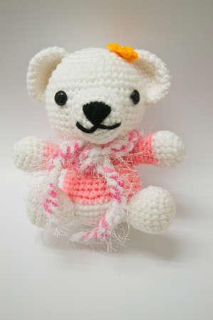 Handmade knitting wool bear doll