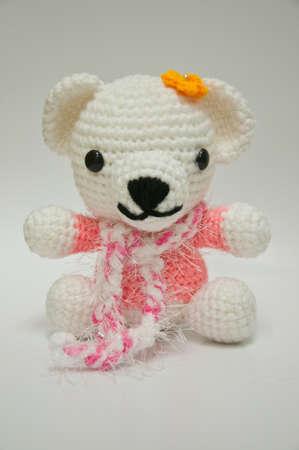 Handmade knitting wool bear doll photo