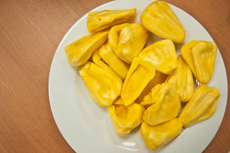 Jackfruit isolated on dish white photo