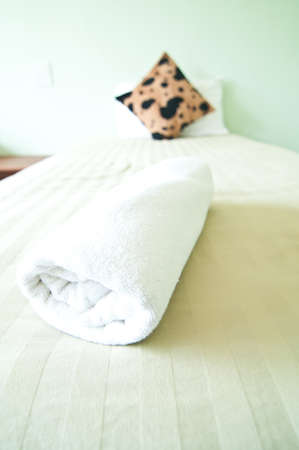 Towels presented on bedroom Stock Photo - 10875071