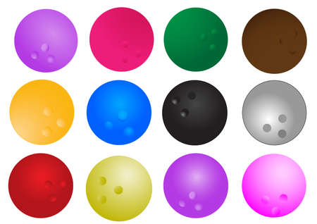 colorful of isolated  bowling on white Vector