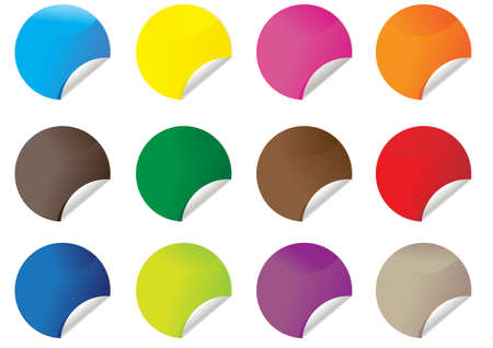 Set of colorful circle sticker icons