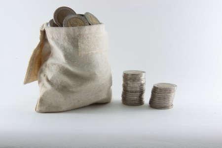 keep coin in burlap bag-10 baht photo