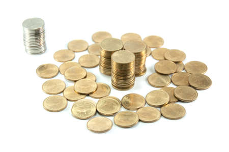 Coin stack isolated on white background Stock Photo - 11308375