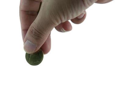 手投下硬幣存入銀行 版權商用圖片