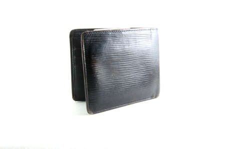 billfold: A black wallet or billfold open and empty Stock Photo