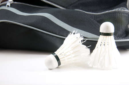 badminton and bag isolated on white background photo