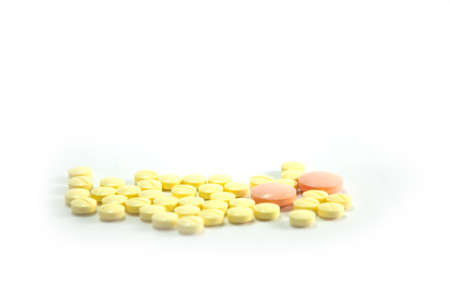 depressant: orange and yellow  generic medicine on white background